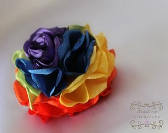 Rainbow Flower: shabby rainbow hair clip, rainbow headband, rainbow birthday
