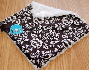 White Rose Damask Pacifier Blanket