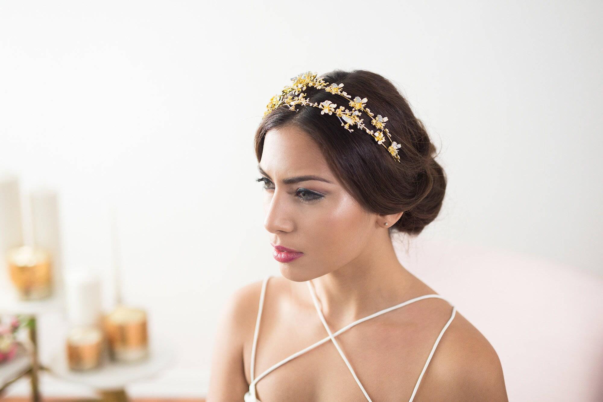 gold bridal headband flower headband gold bridal headpiece