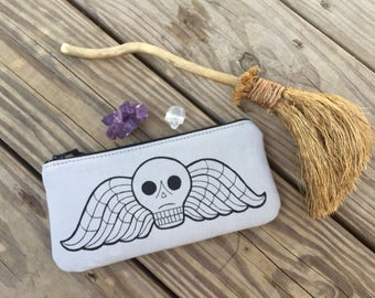Deaths Head, Deaths Head Pouch, Tombstone, Tombstone Pouch, Taphophile, Taphophile Pouch, Cemetery Pouch