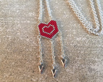 Woven heart pendant necklace - red and silver beads