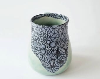 15 oz Zentangle Sgraffito on Stoneware Mug in Aqua and Grey - Handmade Functional Art