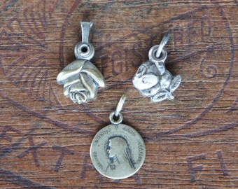Three Antique French Religious Medals Including Two Rose Slide Medals