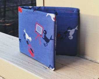 Slim Cotton Retro Birds Print Wallet