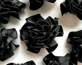 4 Large Black Ribbon Ruffle Roses Rosettes Flowers 3.5cm  - Card Making Embellishments Craft Sewing