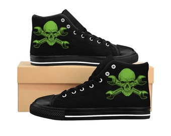 Men's Mechanic Shoes,  Custom Designed Shoes, High Top Sneakers, Skull Wrench Design,