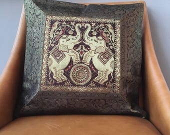 Silk Brocade Cushion Cover. Elephant print, Indian style