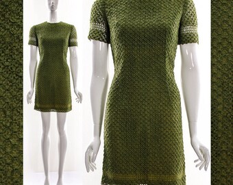 Vtg 50s 60s Two Piece Outfit Dress Jacket Almandine ribbon dress Green Crochet Knit Mod Mini Dress Retro Matching Box Jacket  S XS