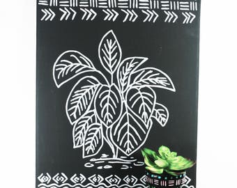 Hand Painted Botanical Art - Chalkboard Style Tropical Painting - Mudcloth Pattern
