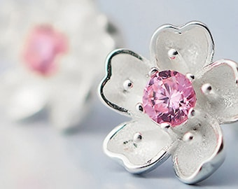Sakura (Cherry Blossoms) Flower Silver Stud Earrings Handcrafted from our Jewelry Bouquet in Purple or Pink