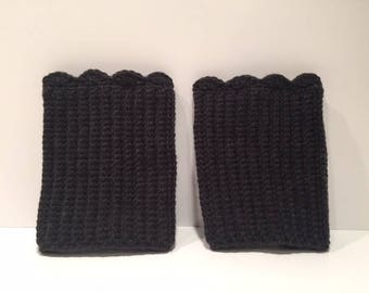 Crochet Boot Cuffs in Charcoal Gray, reversible