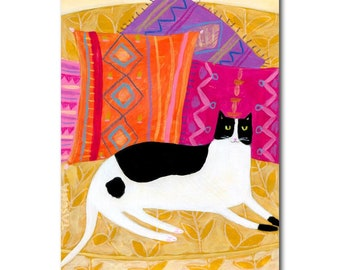 ORIGINAL Cat with boho pillows painting ORIGINAL acrylic painting tuxedo cat folk art painting by artist TASCHA