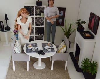 Rug, beige, 1/6 scale, Barbie scale, dollhouse, diorama, area rug, home decor, BJD, doll (Blythe, Momoko, Fashion Royalty action figures)