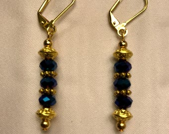 Blue and Gold Sparkling Dangle Earrings