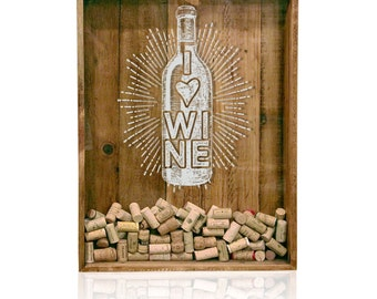 18x24 Wine Cork Holder, Wedding Gift, Shadow Box, House Warming Gift, Shadow Box Cork Holder