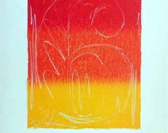 JASPER JOHNS - '6' - hand signed vintage print - c1995 (Andy Warhol, Pop art interest)