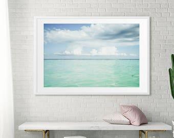 Grande échelle imprimer salon Art / / océan plage photographie / / bleu océan vert grand nuages duveteux / / grande plage d'impression «Eaux Turquoise»
