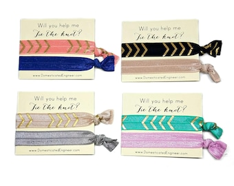 Will you Help me tie the knot, Bridesmaid proposal, Bridesmaids Hair Ties, Bridal Party Gifts, Bridesmaid Gifts, Hair Tie Favors