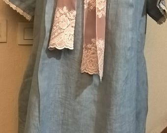Large size dress in linen and lace sky blue