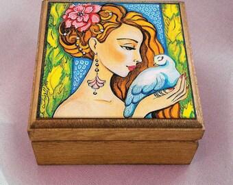 art gift box, fairy box, wooden gift box, treasure box, keepsake box, jewelry box, 3.5x3.5+