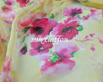 Yellow 100% Pure silk chiffon fabric With Floral Print Spring and Summer Thin through Dress Skirt Scarves Chiffon Fabric
