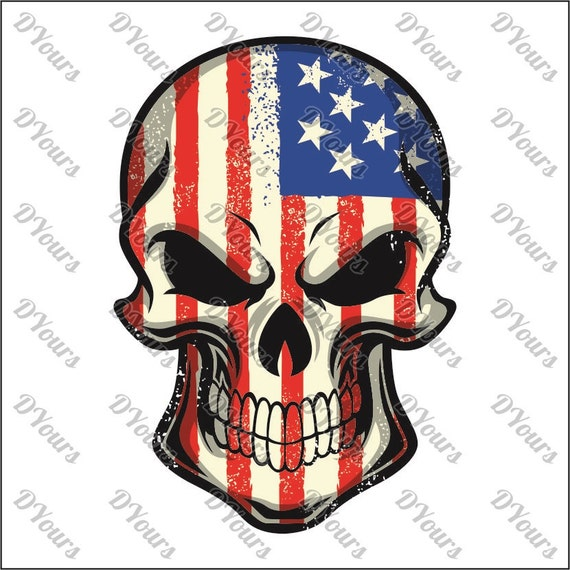 skull painted in usa flag colors american flag svg cdr ai