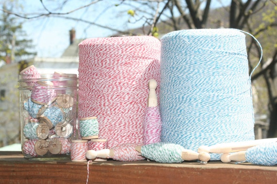 4 colors 4ply Bakers Twine 50 yards on Wood Spools