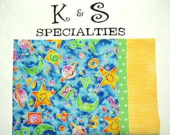 Solar System Pillowcase for Children, Boy/Girl Gift, Monogrammed On A Yellow Cuff, Birthday Gift, Christmas Gift, Sleep Overs,Car PlaneTrips