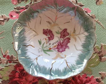 Pink Flower Bowl or Dish with Aqua and Gold