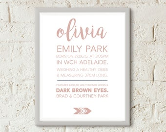 Rose Gold Baby Announcement Poster - AKGraphicDesignStore