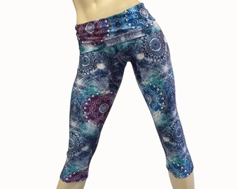 Yoga Pants - Workout Clothes - Hot Yoga - Fitness - Kaleidoscope - High Waist Pant - Fold Over - Capri - SXY Fitness - Handmade - USA -