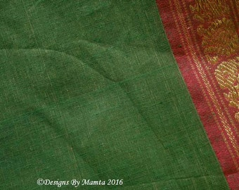 Indian Handloom Saree Peacock Border Print, Indian Sari Fabric By The Yard, Cotton Saree, Hand Woven Ethnic Print Fabric, India Ilkal Fabric