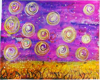 Sparkle at Night 16x20 Inch Watercolor Painting!