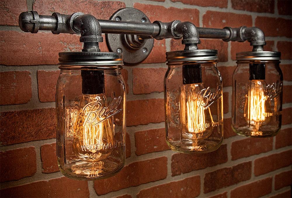 Mason Jar Light Fixture - Industrial Light -Light - Rustic Light - Vanity Light - Wall Light - Wall Sconce - Ste&unk Light - FREE SHIPPING & Mason Jar Light Fixture - Industrial Light -Light - Rustic Light ...