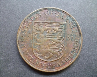 1933 States of Jersey one twelfth of a shilling (Penny Coin), ideal for craft or jewellery making.