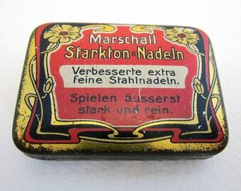 German Marschall Starkton Stahl Nadeln Gramophone Needle Metal Tin Case Box. Early 20th-Century. Antique/Vintage.