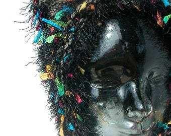 Kitty Cat Ear Hat - Bonnet Style - Black and Multicolored Wool and Acrylic