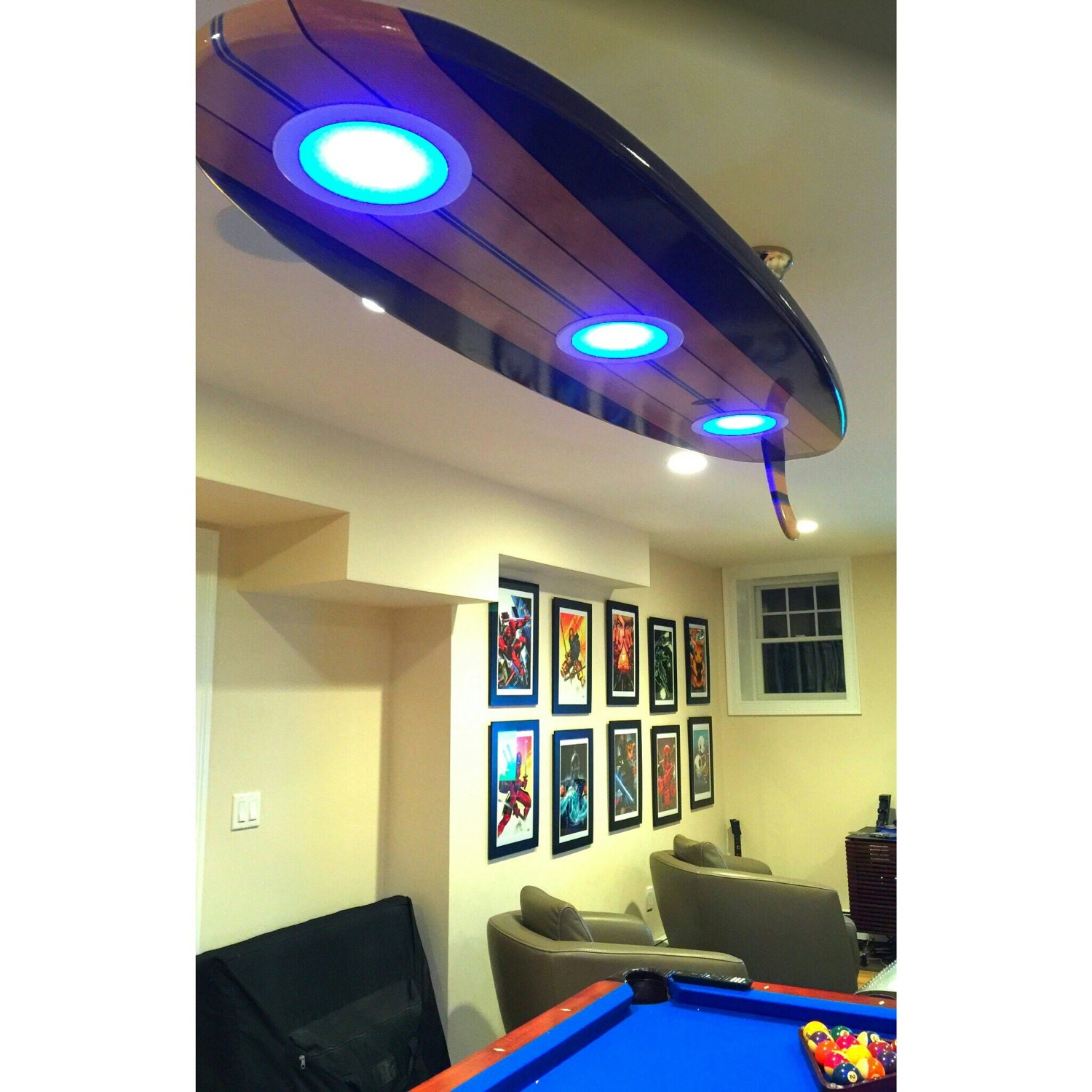 Surfboard pool table billiard game room bar ceiling light zoom greentooth Choice Image