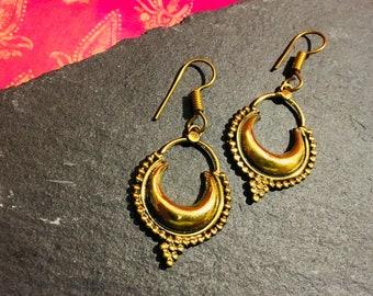 Brass Tribal Earrings, Tribal drop earrings, Tribal hoop, gypsy, Boho