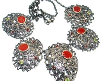 Carnelian, Peridot, Tourmaline Sterling Silver Necklace - weight 43.50g - dim 2 inch - code 11-sty-18-49