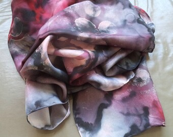 silk scarf hand-painted black purple 180 cm x 45 cm
