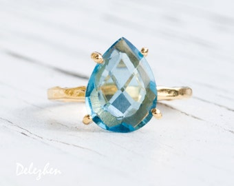 London Blue Topaz Ring Gold - Solitaire Ring - December Birthstone Ring - Stacking Ring - Gold Ring - Pear Drop Ring - Prong Set Ring