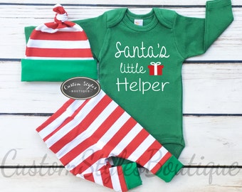 Baby Boys First Christmas Outfit, Santa's Little Helper, Red and White Striped Leggings And Hat With Green Cuffs,Baby Boys Christmas Outfit