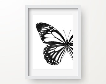 Butterfly Print, Animal Art, Cafe Print, Insect Poster, Black And White Print, Digital Art, Instant Download