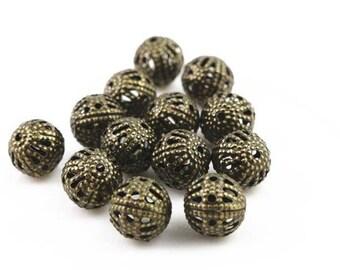 10 pearls 8mm bronze metal