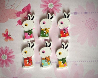 6 buttons, wood, rabbit standing 32x15x3mm 6 varied and different colors, sewing, scrapbooking, deco, customization...