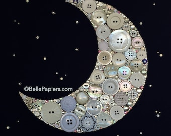 Moon Wall Art Crescent Moon Decoration Kirk's Folly Button Art Crescent Moon and Stars I love you to the moon and back to infinity beyond