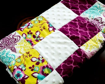 Pretty Purple and Yellow Patchwork Baby Girl Quilt Blanket, Baby Shower Gift, Girl Birthday Gift, Baby Quilt