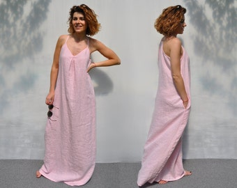 Full length holiday night out dress / Pale pink loose fit sleeveless prom dress / Custom length eco organic smock dress