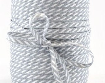 CLEARANCE Solid/Diagonal Striped Ribbon - Gray and White - 3 yd bundle